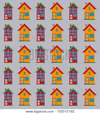 Detailed Flat Houses Pattern.