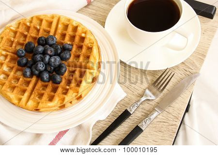 Breakfast - Waffles with blueberry and coffee