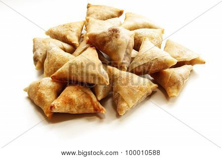 Cocktail samosa on a white background