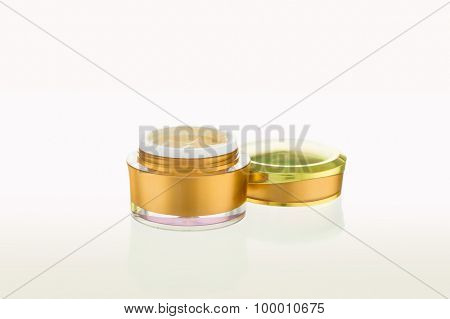 Open Jar Of Cosmetic Product On White Background
