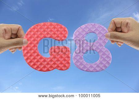 Hand Arrange Alphabet G8 Of Acronym Group Of Eight.