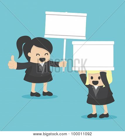 Business Woman Holding A White Sign