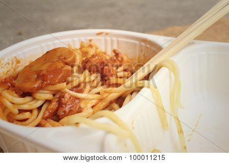 Spaghetti With Tomatoes Sauce In Lunch Box.