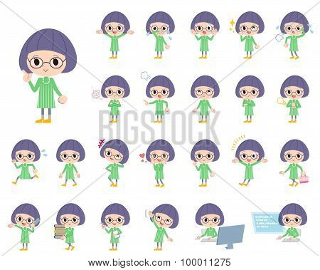 Green Clothes Bobbed Glasses Girl