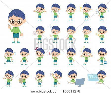 Green Clothing Glasses Boy