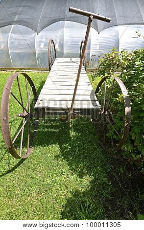 Cart for hauling pants in a greenhouse