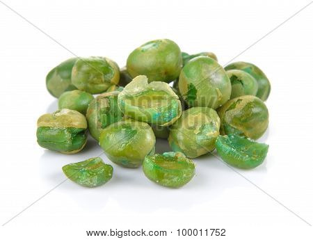 Sugar Pea With Salt On White Background