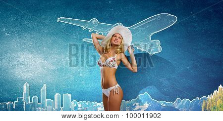 Girl in white bikini