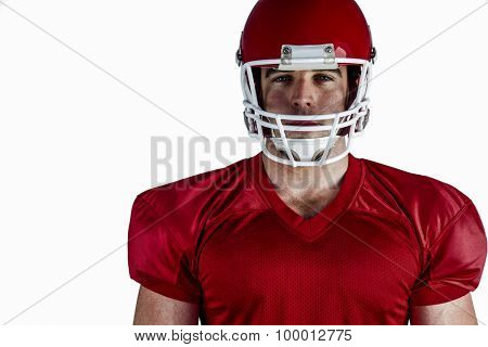 American football player looking at camera on white background