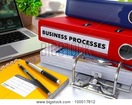 Red Ring Binder with Inscription Business Processes.