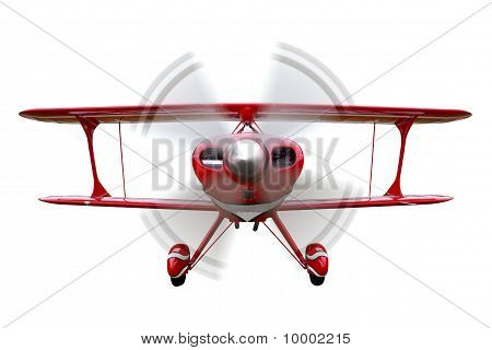 Red Biplane Flying Isolated