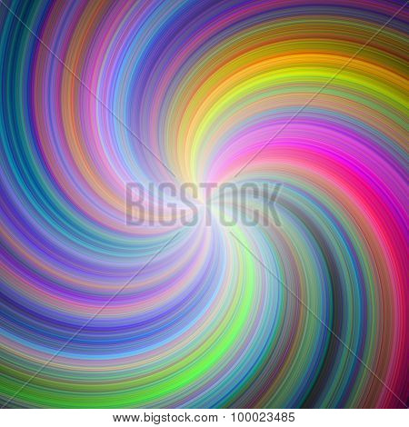 Rainbow Colored Spiral Design. Swirl Background