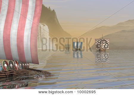 Viking Longships in a Norwegian Fjord