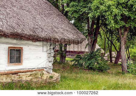Landscape Clay And Wooden Hut Thatched Ukrainian