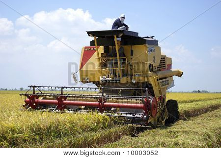 Harvesting machine with People