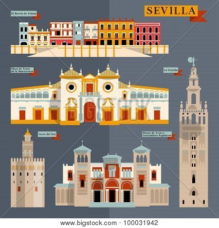 Sights of Seville. Andalusia Spain Europe. Vector illustration poster
