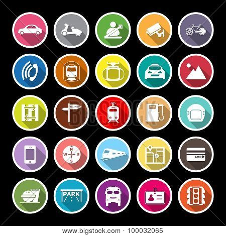 Land Transport Related Flat Icons With Long Shadow