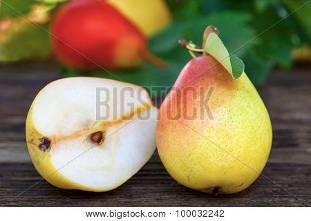 Bartlett pears on wooden table