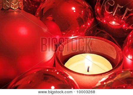 Red Christmas Balls And Tea Light