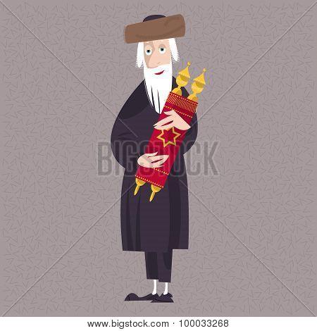 Orthodox Jewish Man Holds The Torah.