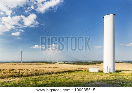 A halfway deconstructed wind turbine that collapsed during a storm in the Eifel Germany. poster