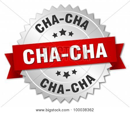 Cha-cha 3D Silver Badge With Red Ribbon