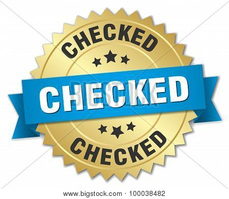 Checked 3D Gold Badge With Blue Ribbon