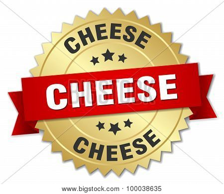 Cheese 3D Gold Badge With Red Ribbon