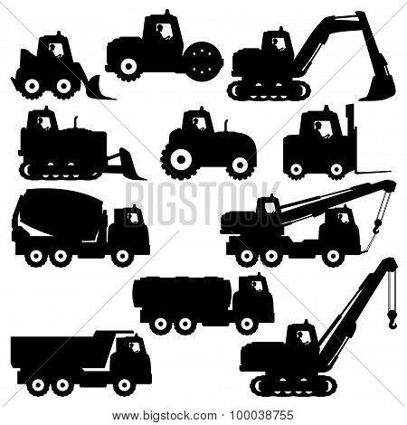Trucks and tractors.