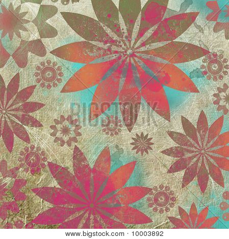 Vintage Floral Grunge Scrapbook Background in indian style poster
