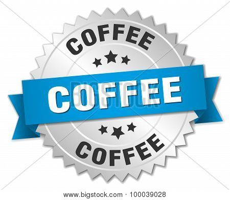 Coffee 3D Silver Badge With Blue Ribbon