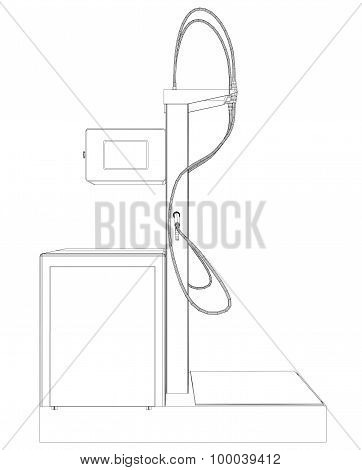 Wire-frame vector Oil and Gas station equipment