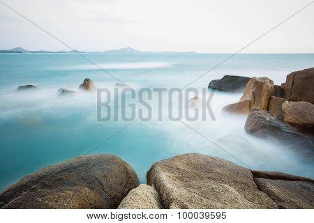 The rocky shore or beach