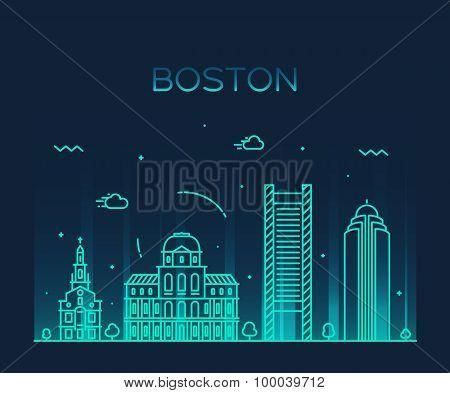 Boston skyline trendy vector illustration linear