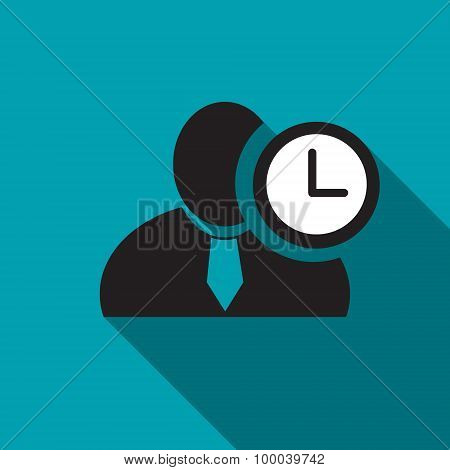 Clock Black Man Silhouette Icon On The Blue Background, Long Shadow Flat Design Icon For Forums Or W