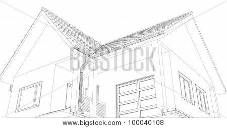 Vector sketch of the cottage