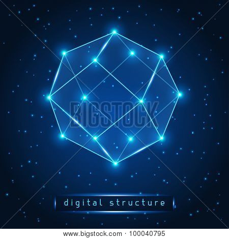 Abstract glowing geometric figure on starry background