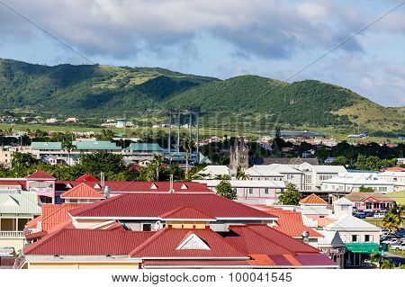 Red Roofs Under Green Hills On St Kitts