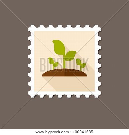 Plant Sprout Flat Stamp With Long Shadow