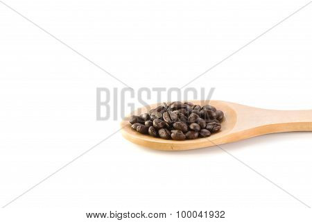 Fresh Beans , Wooden Spoon On White Background.