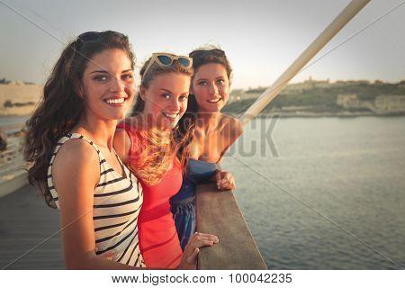 Three girls on vacation