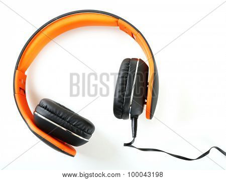 Orange headphones isolated on white