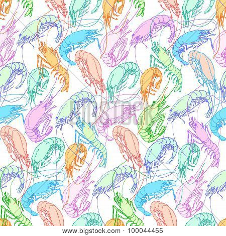 Shrimps. Seamless Pattern Background. Orange, Pink, Blue, Green Pastel Color Linear Drawing On White