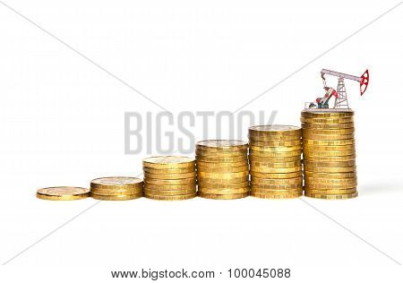 Oil Pump On A Stack Of Coins Concept