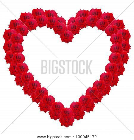 Heart Of Red Roses Isolated On A White Background