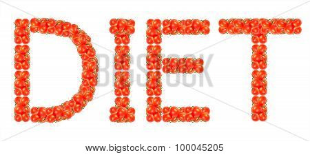 The Word Diet Of Tomatoes Isolated On White Background