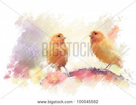 Digital Painting of Yellow Birds In The Garden