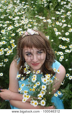 Girl In The Field With Daisies
