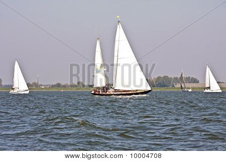 Sailing on the Haringvliet in the Netherlands