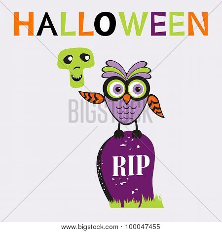 An illustration of cute halloween owl